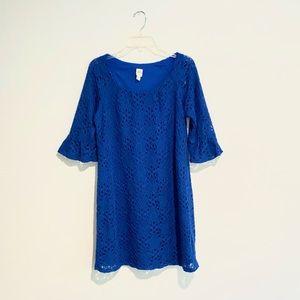 Sangria Blue Lace Shift Dress
